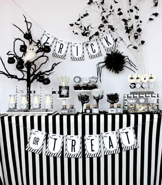 Fiesta Halloween en Blanco y Negro, mesa de dulces Negro y blanco