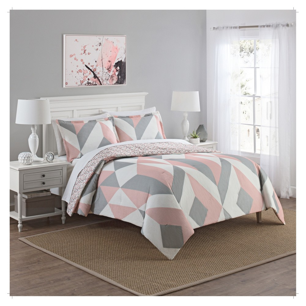 Pink Colorblock Lena Reversible Comforter Set King 3pc Marble