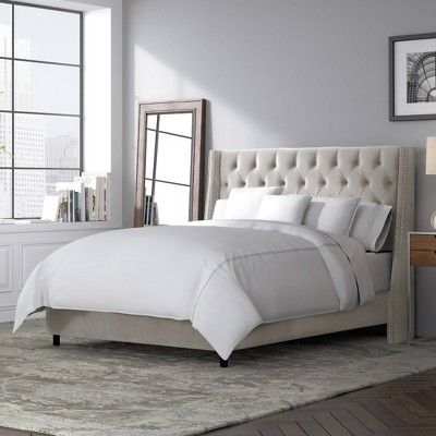 Queen Diamond Tufted Wingback Bed Dove Gray Velvet With Pewter