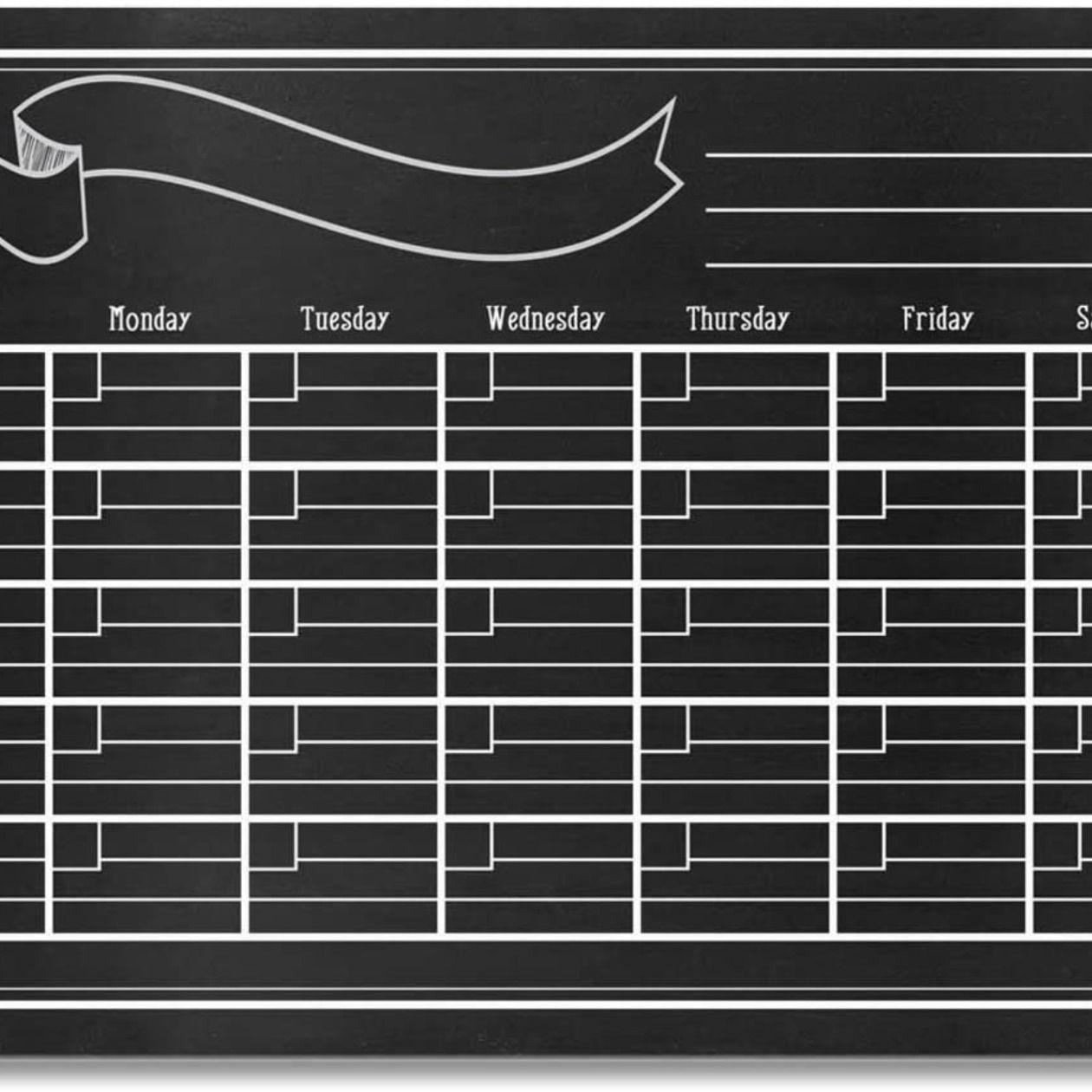 Chalkboard Wall Calendar In 2020 Chalkboard Wall Calendars Dry Erase Markers Wall Planner