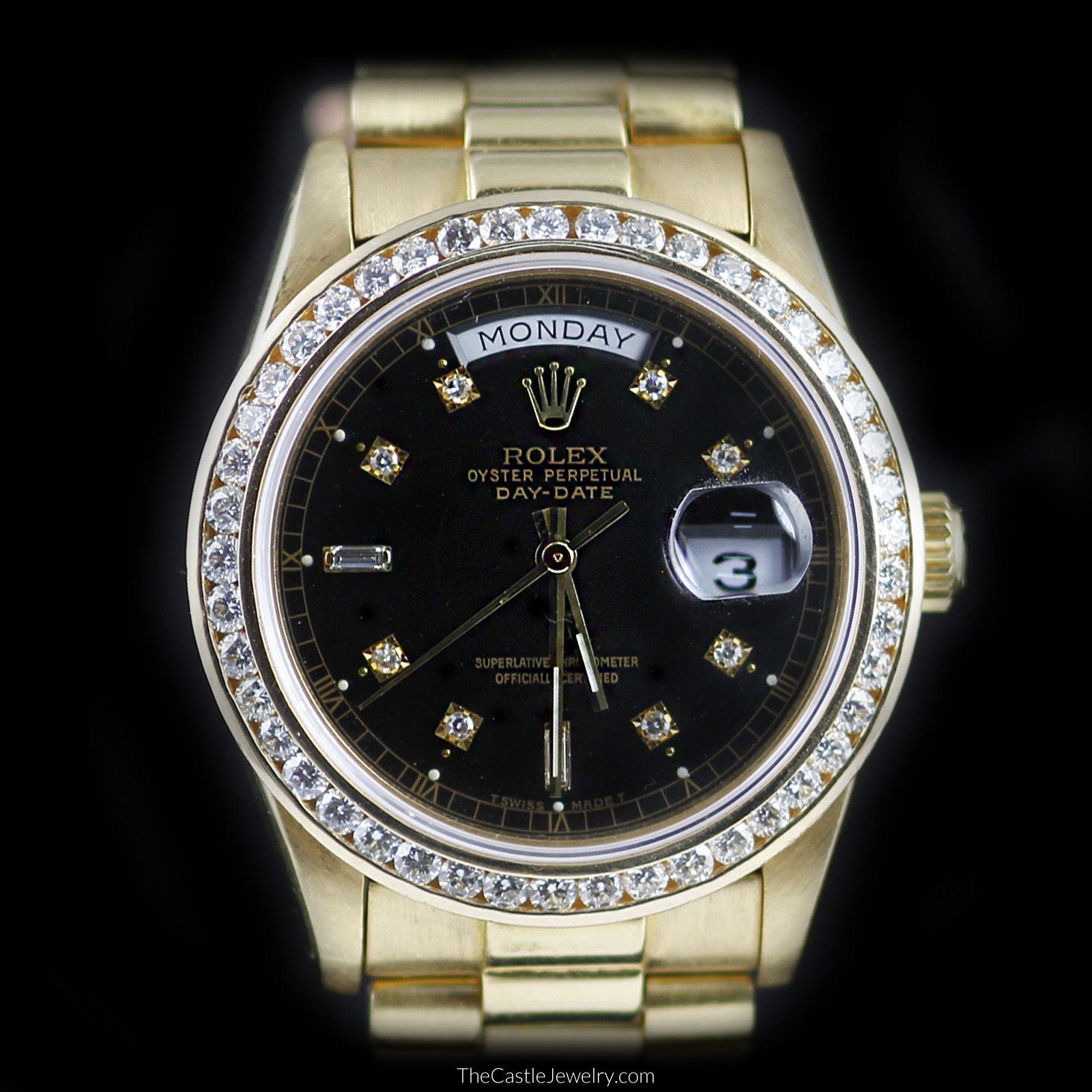 34312a435ea ROLEX Mens 18K Day-Date PRESIDENT Diamond Bezel Black Diamond Dial 18048
