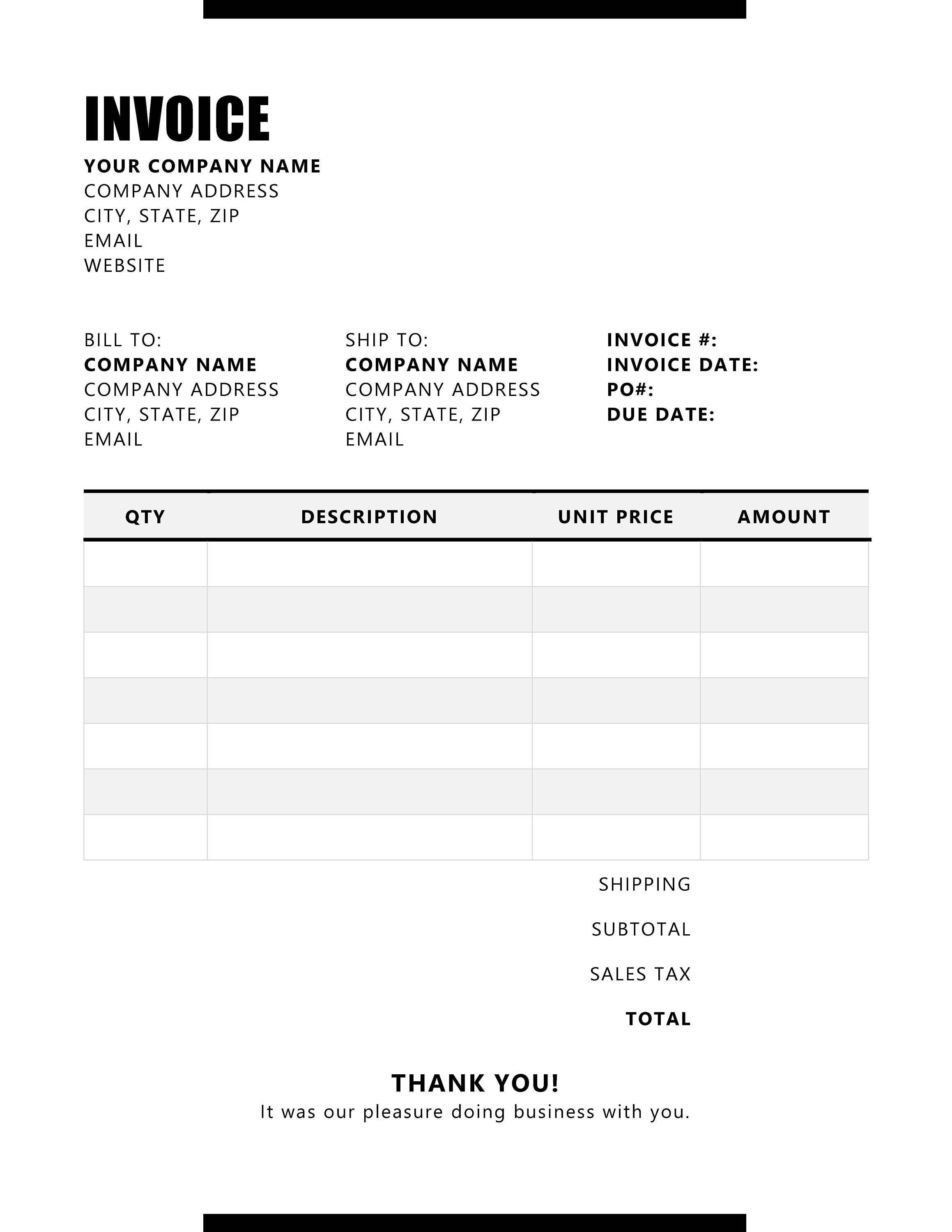 Invoice Template Printable Invoice Business Form Editable Etsy In 2021 Printable Invoice Invoice Template Template Printable