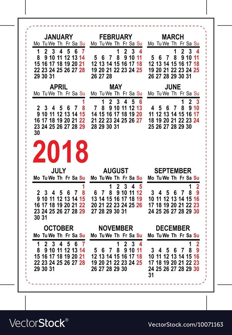 grid pocket calendar 2018 royalty free vector image full year pocket calendar 2018