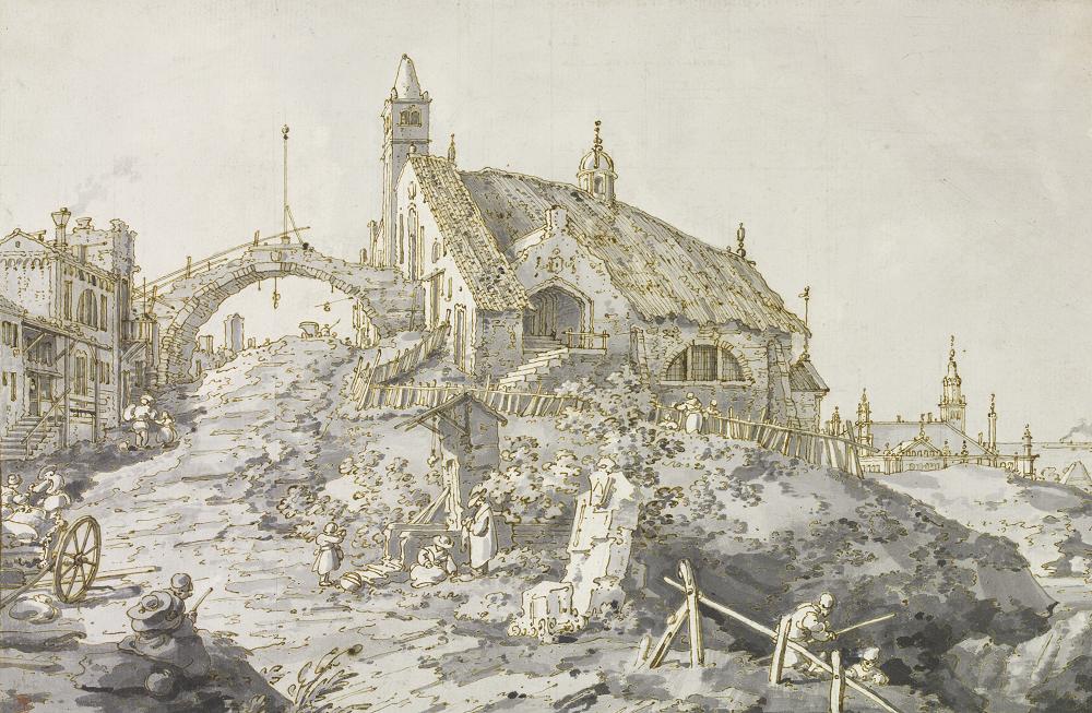 Caprice avec une église sur une colline   Exposition Canaletto