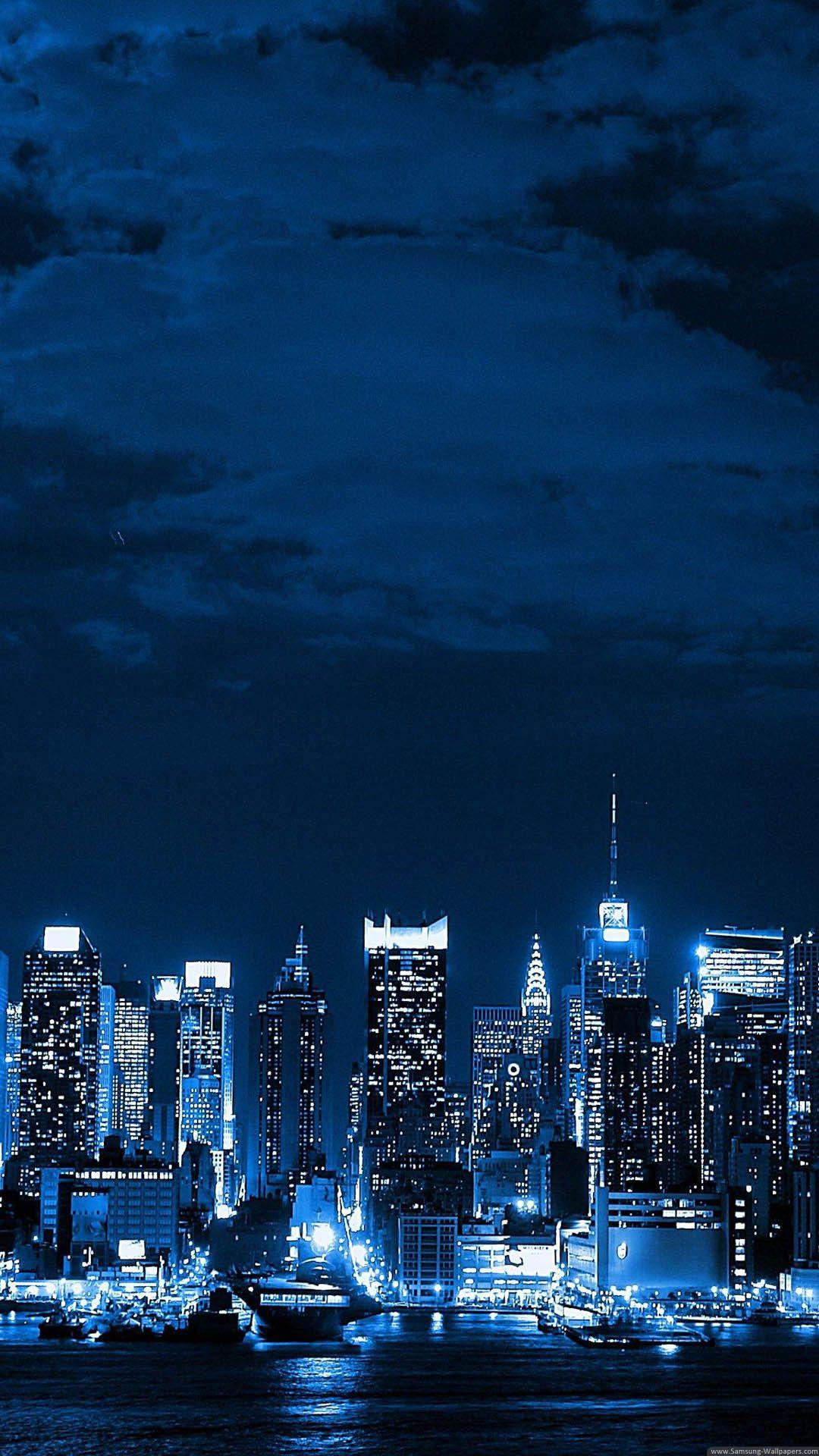 Metropolis Big City Night Skyline Iphone 6 Plus Hd Wallpaper