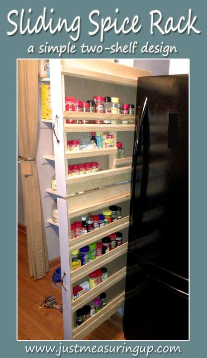 How To Build A Sliding Spice Rack Spice Rack Kitchen Organization Diy Diy Spice Rack
