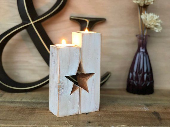 Photo of Star Rustic Tea Light Candle Holder | Pagan Gifts | Pagan Altar | Mindfulness Gift | Mantle Decor