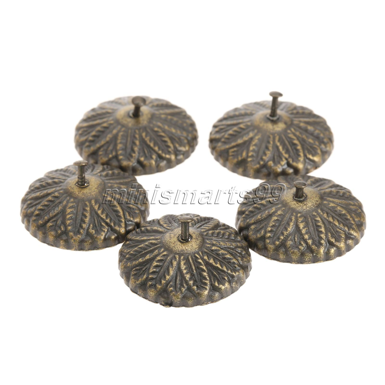 decorative studs for furniture. 50x Decorative Furniture Upholstery Nails Tack Studs Antique Bronze Carved Drum Wooden Jewelry Box Bag For G