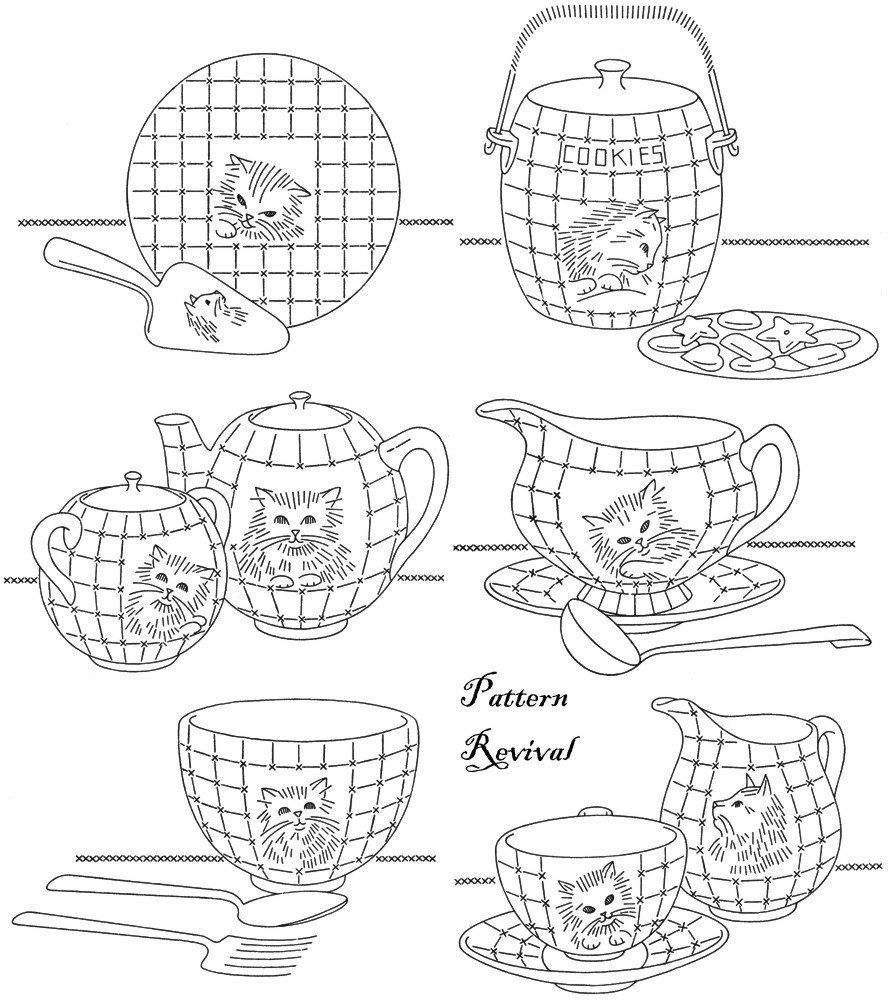 Tea towel embroidery 7470 tea for kittens days of the week pattern tea towel embroidery 7470 tea for kittens days of the week pattern pdf vintage newspaper mail away quilt apron tea time dishes bankloansurffo Images