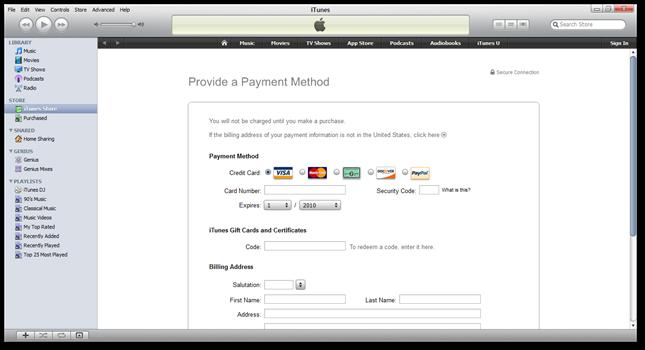 iTunes - no credit card