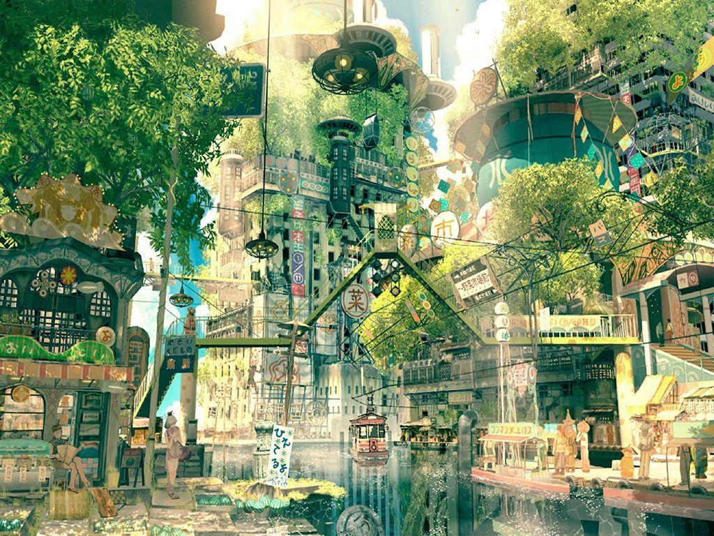 japan forest city art Artwork Pinterest City art Wallpaper