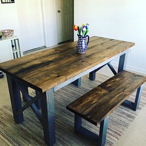 Photo of Rustic Wooden Farmhouse Table Set with Provincial Brown Top and Classic Gray Base Criss Cross Style Includes Two Benches