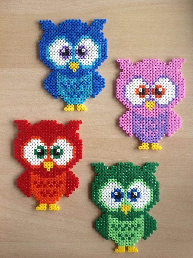 Owls Perler Beads Perle A Repasser Modeles Motifs Perles Hama Perle
