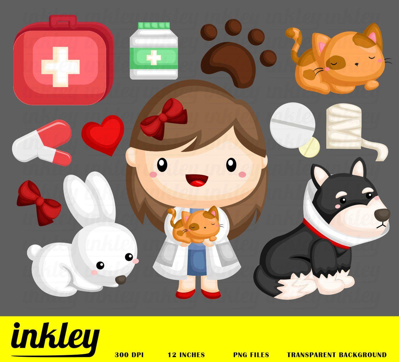 Animal Vet Clipart Cute Animal Clipart Job And Occupation Etsy Clip Art Cute Animal Clipart Vet Clipart