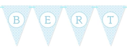Personalised Quatrefoil Bunting in Blue. Perfect for kids parties, christenings, baby showers and weddings.