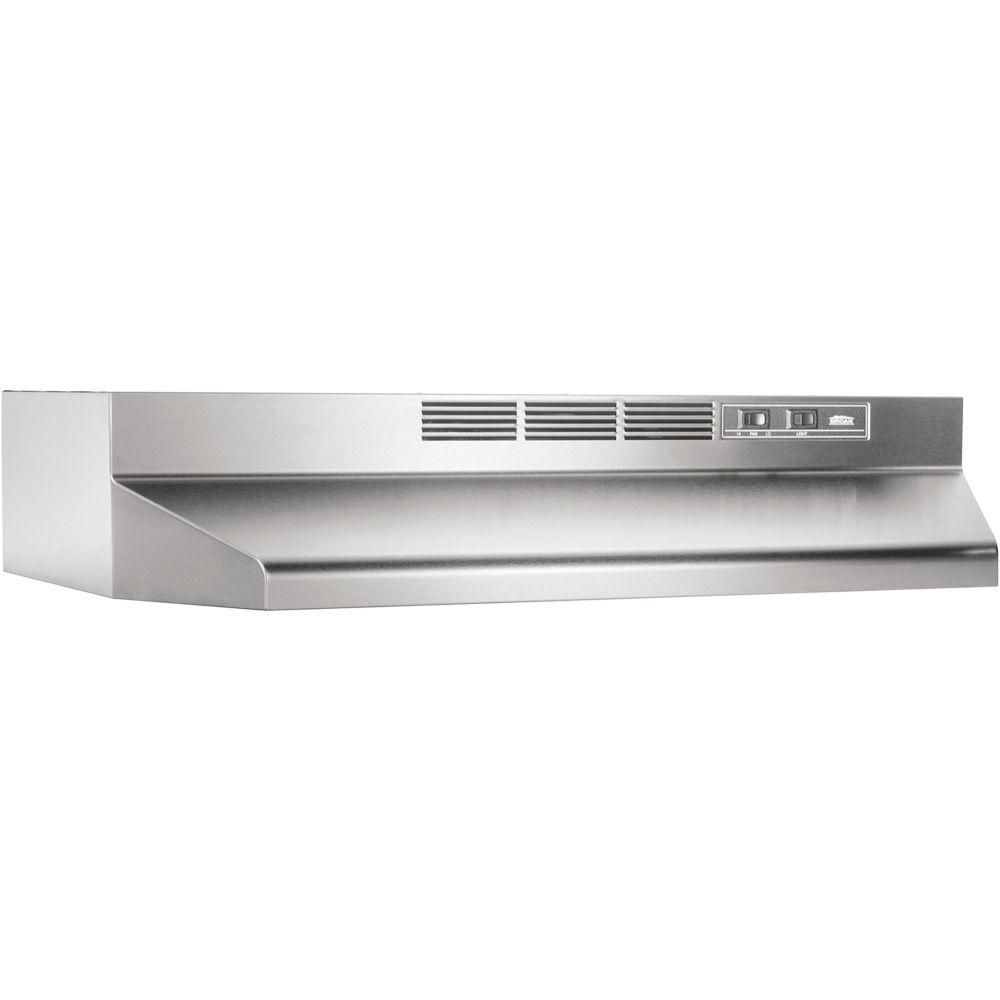 Broan Nutone 41000 Series 30 In Ductless Under Cabinet Range Hood With Light In Stainless Steel 413004 The Home Depot Broan Recirculating Range Hood Ductless Range Hood