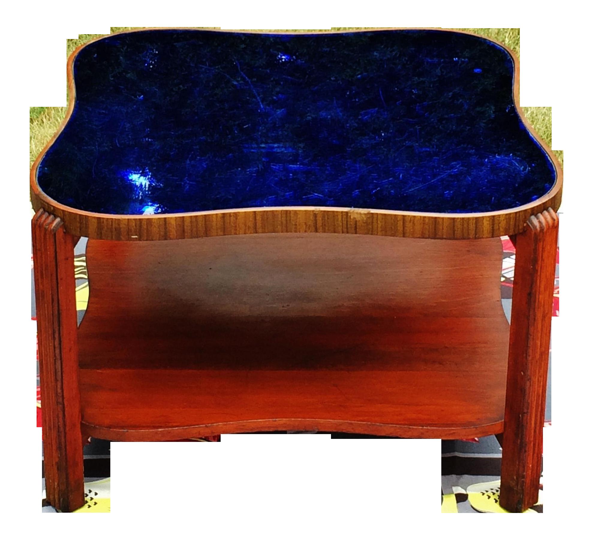 Art Deco Cobalt Blue Glass Mirror Coffee Table Mirrored Coffee