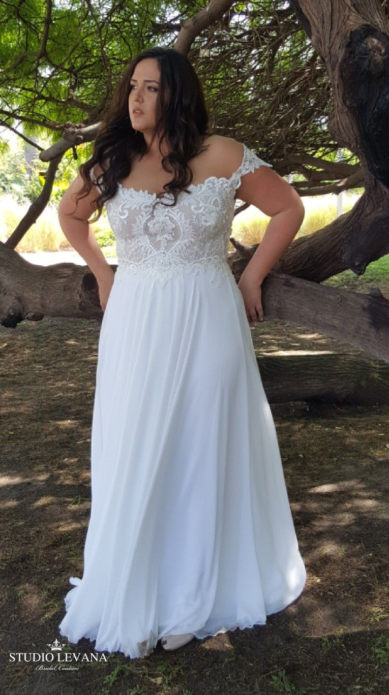 Bohemian Off Shoulder Wedding Gown With Unique Lace And Flowy Chiffon Skirt Valentina Plus Size Wedding Gowns Pagan Wedding Dresses Lace Beach Wedding Dress [ 1368 x 765 Pixel ]