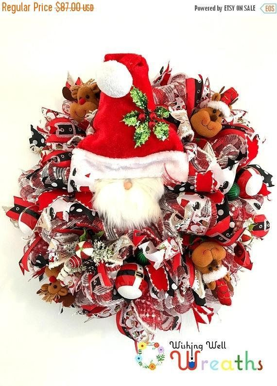 Traditional Santa Claus and Reindeer Wreath/ Christmas Decor Door - christmas decorations sale