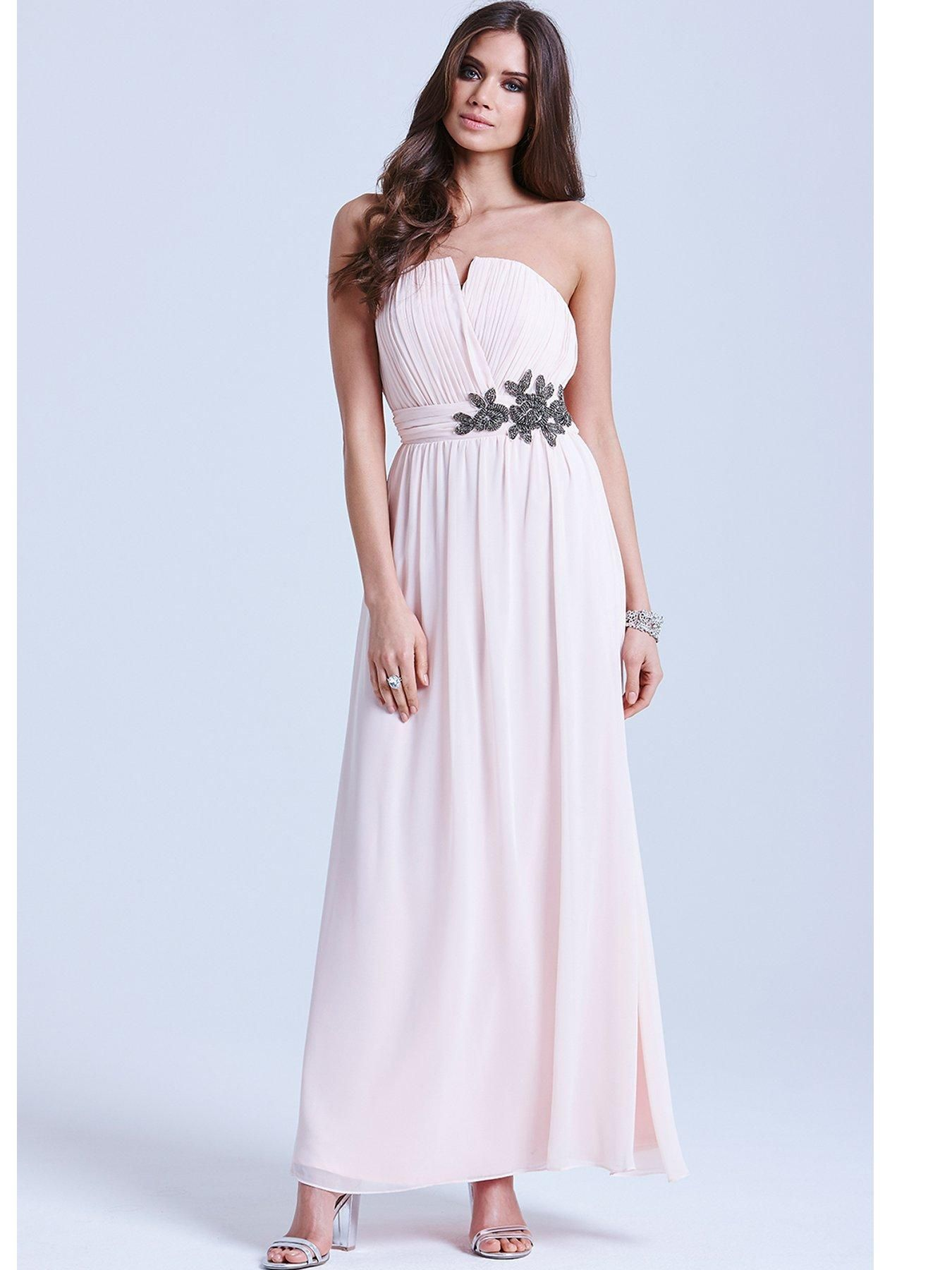 Little Mistress Nude Floral Embellished Bandeau Maxi Dress | very.co ...