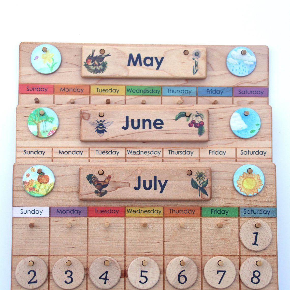 Home Calendar Wooden Perpetual Calendar Weather Chart