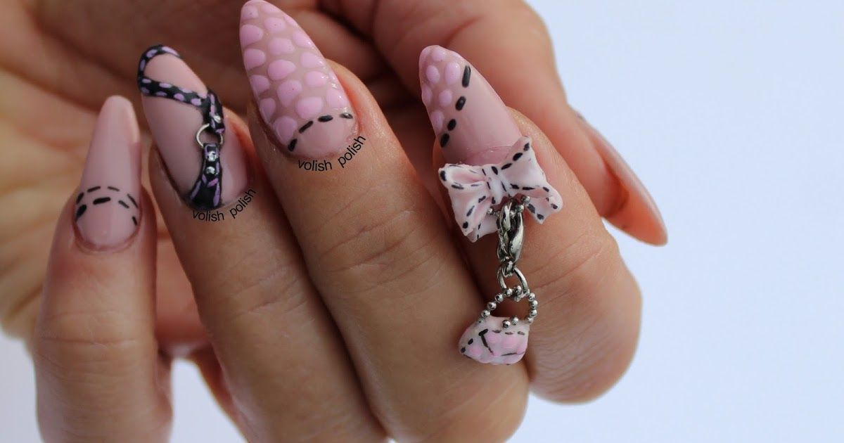 acrylic nails - all charms, bow, belt, little purse dangle (it is ...