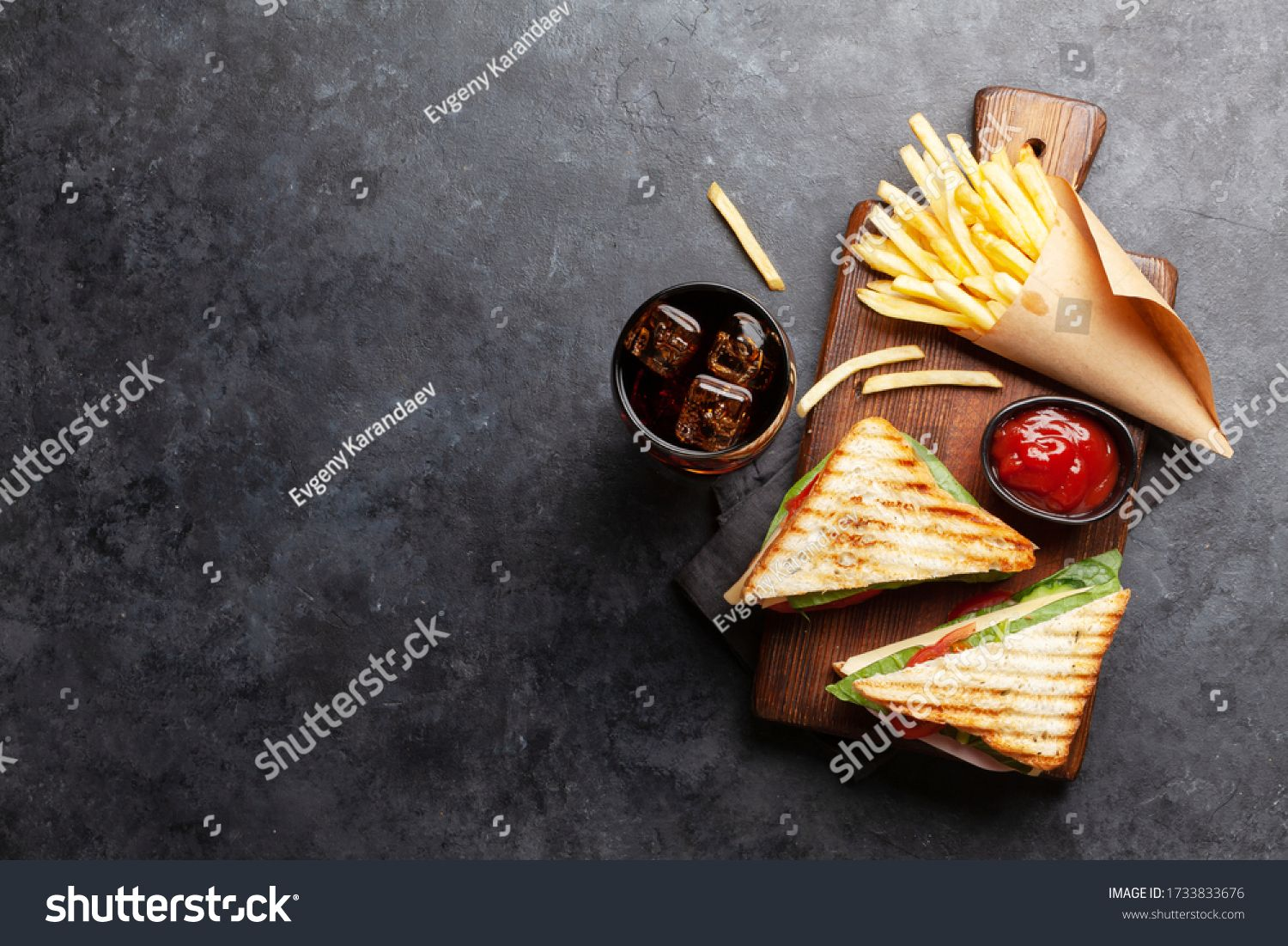 Club Sandwich Potato Fries Chips And Glass Of Cola Drink With Ice Fast Food Take Away Top View With Copy Space Ad Affi In 2020 Club Sandwich Fried Potatoes Food