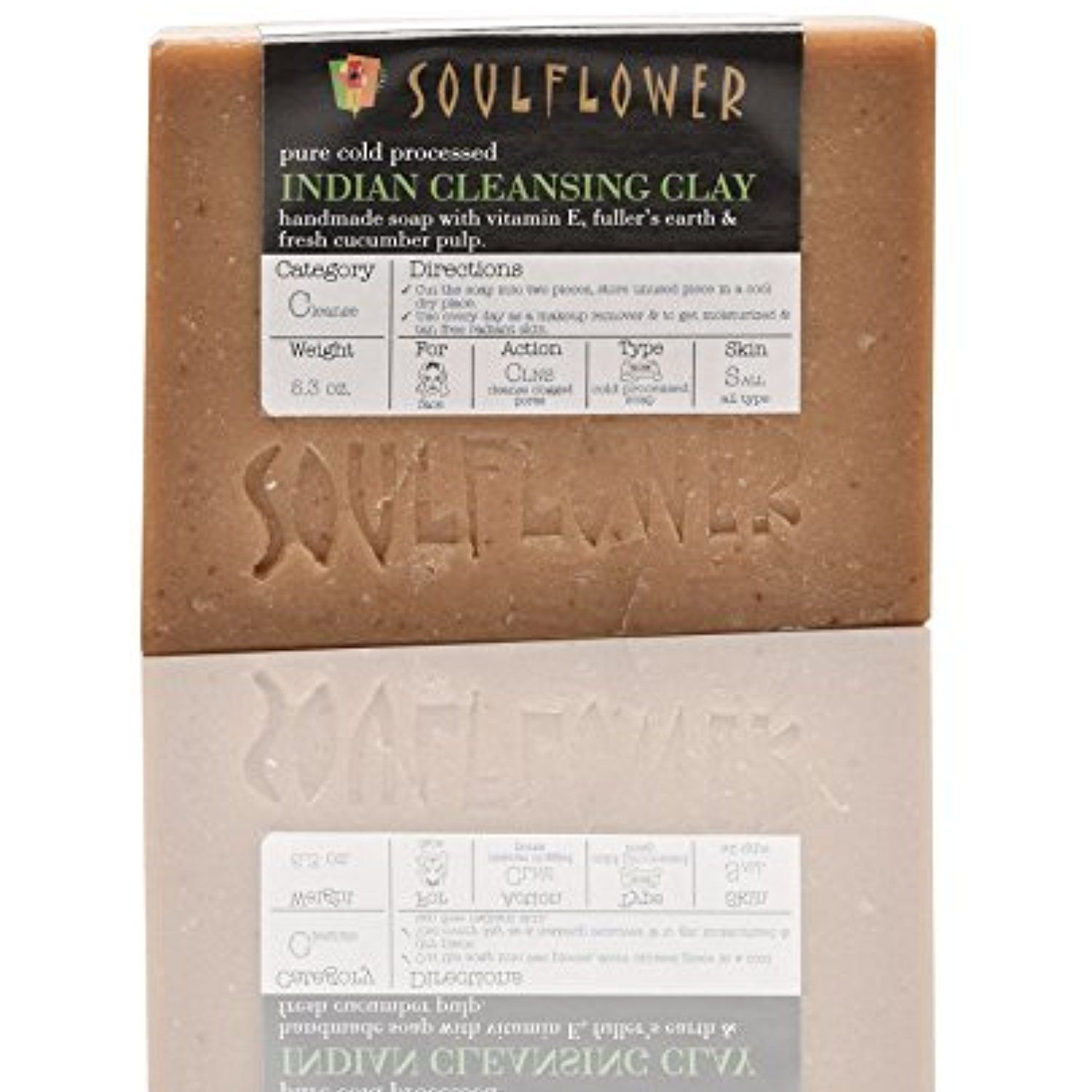 Soulflower Indian Cleansing Clay Soap, 5.3 oz, 2 Bars