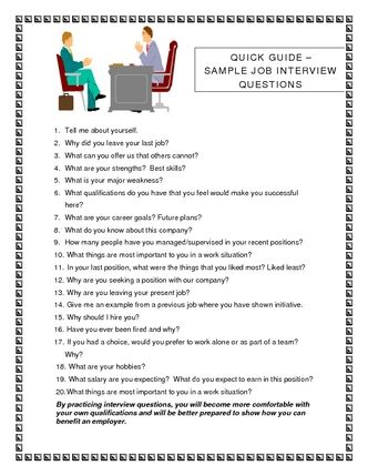 Job Interview Questions | job interview questions sample image ...