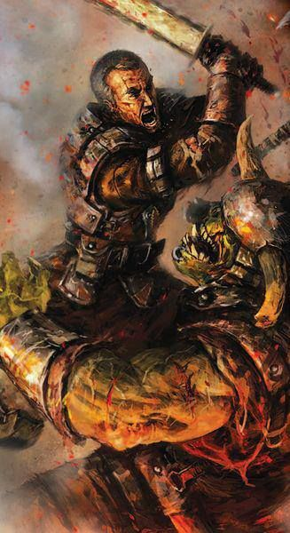 An Imperial Guardsman with a salvaged chainsword welcomes an ork to the battle.