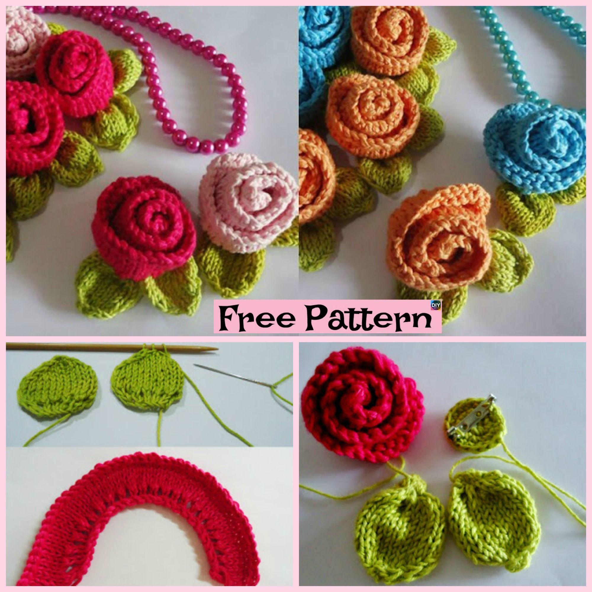 Knit Little Rose Flower for Beginner - Free Patterns ...
