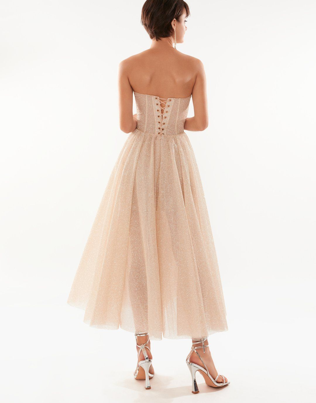 Sparkly Glittery Strapless Party Dress Features A Puffy Midi Skirt And A Lace Up Corset Bodice Details Fabr In 2021 Strapless Party Dress Dresses Elegant Dresses Long [ 1375 x 1080 Pixel ]