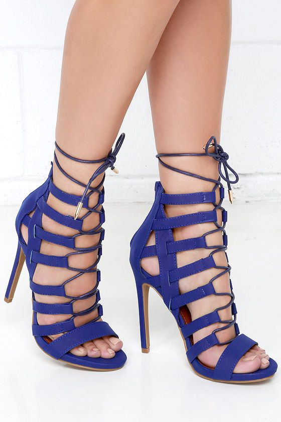 f9389238ce78 Cage By Surprise Blue Caged Lace-Up Heels at Lulus.com!
