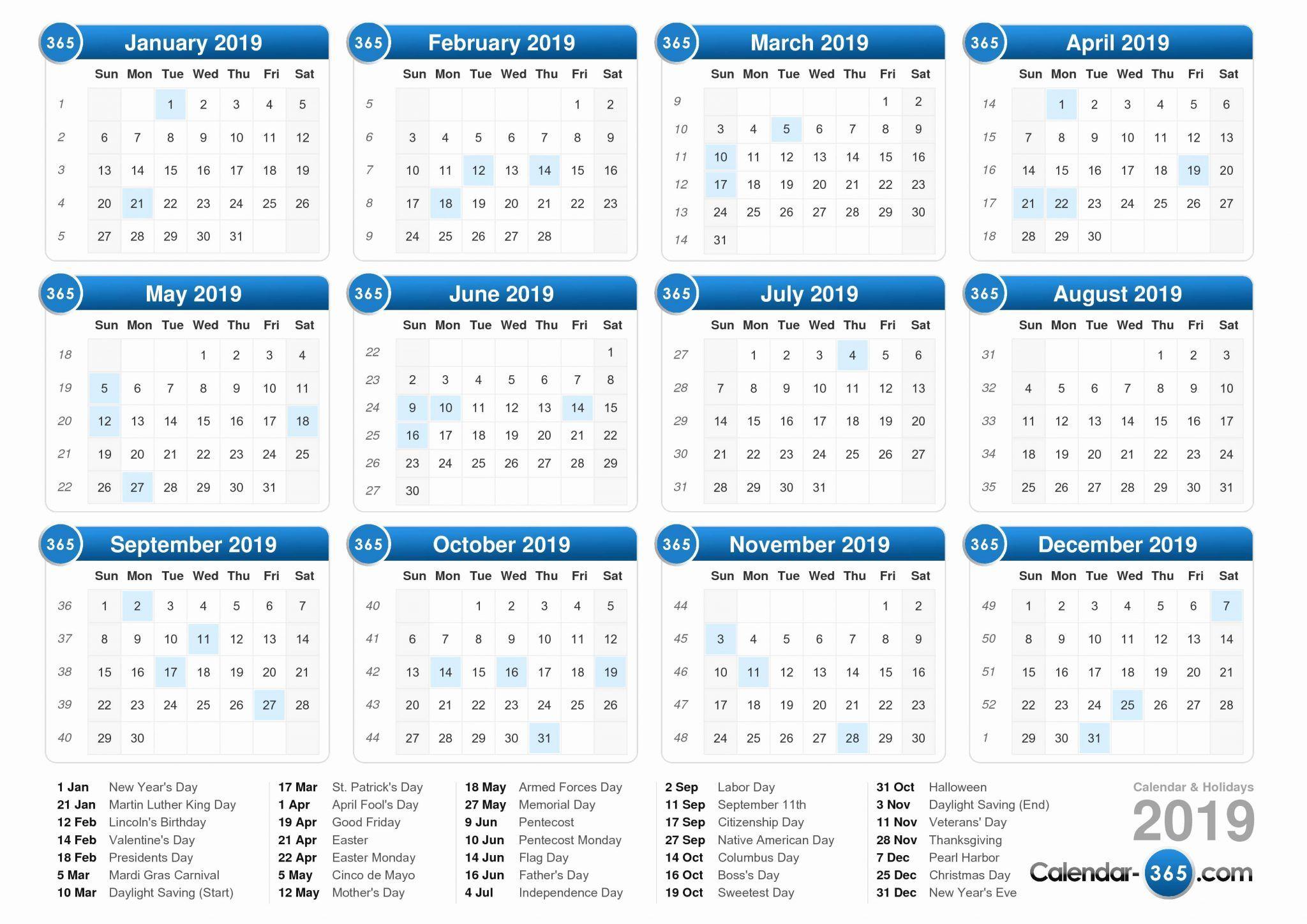 Us Holidays Calendar 2019 Free To Print Calendar Printables