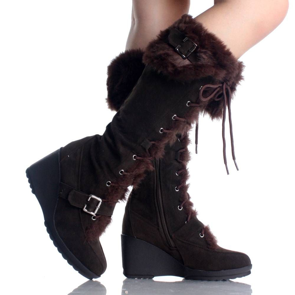 Brown Suede Fur Winter Lace Up Wedge High Heel Womens Mid Calf Boots