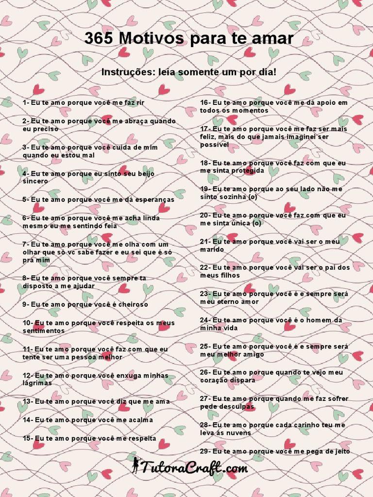 Lista De Motivos Para Amar Util Para Imprimir E Fazer Presentes