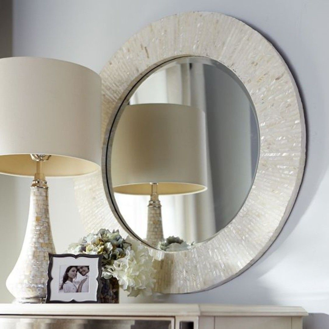 Ivory Leather White Mirror Lv Design Round For Wall 60cm Diameter جلد عاجي أبيض Lv تصميم دائري للجدار قط Mother Of Pearl Mirror Round Mirrors Mirror Mother of pearl mirrors