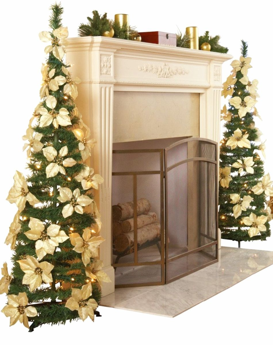 Realistic artificial christmas trees and Poinsettia