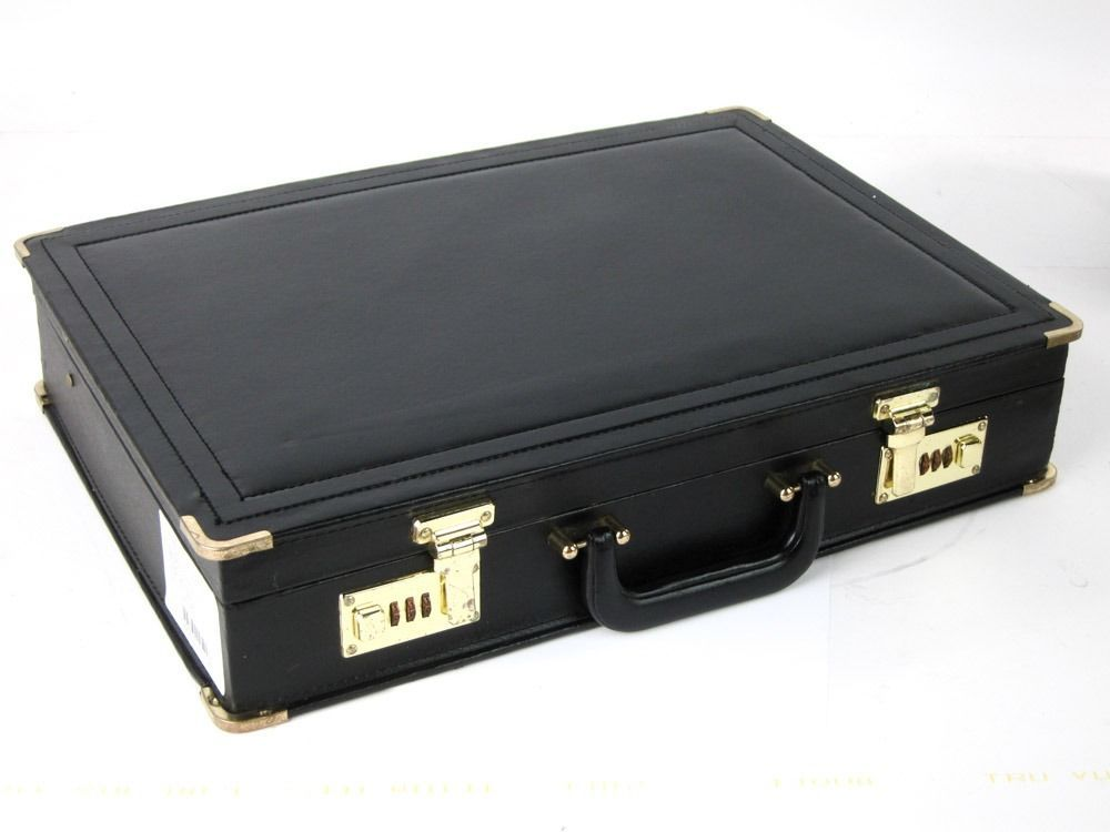 PRESTIGE VINTAGE BLACK LEATHERETTE FAUX LEATHER BRIEFCASE EXCELLENT CONDITION  #PRESTIGE #Briefcase