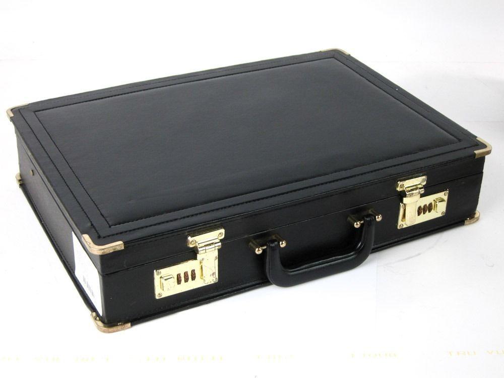 PRESTIGE VINTAGE BLACK LEATHERETTE FAUX LEATHER BRIEFCASE EXCELLENT CONDITION  #PRESTIGE #Briefcase