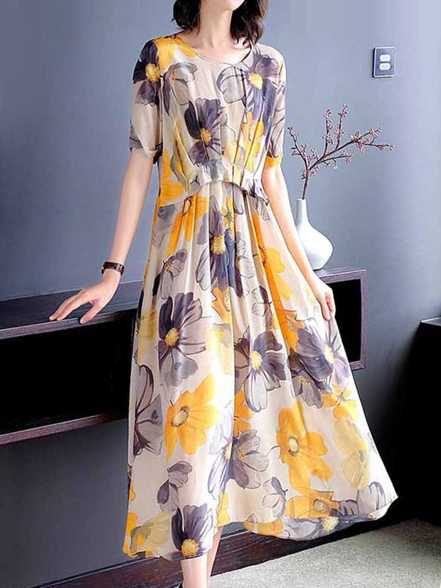 d1707e0469 Stylewe Summer Dresses Floral Dresses Daily A-Line Crew Neck Casual Short  Sleeve Printed Dresses
