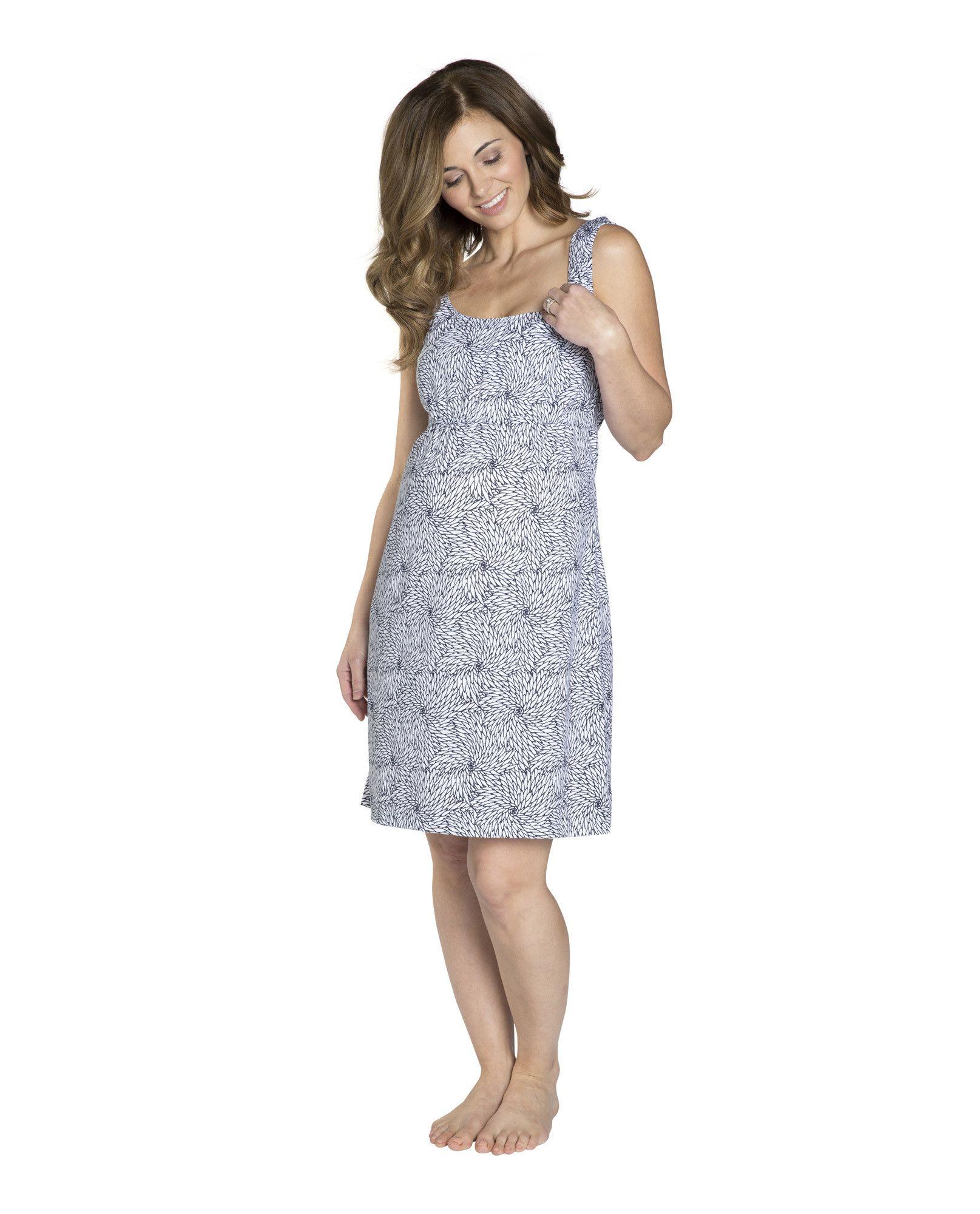 Harper Maternity/Nursing Nightgown, Robe & White Baby Romper Set ...