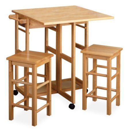 Amazon.com: Winsome Wood Table Drop Leaf Square Stool, Natural: Home U0026