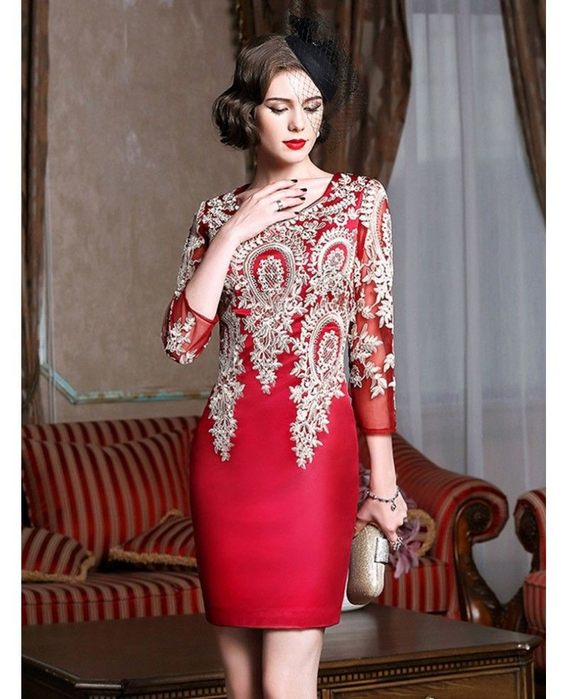 Long sleeve embroidered cocktail dress for women over wedding