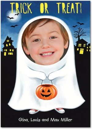 Halloween Photo Cards Friendly Ghoul - Front : Black