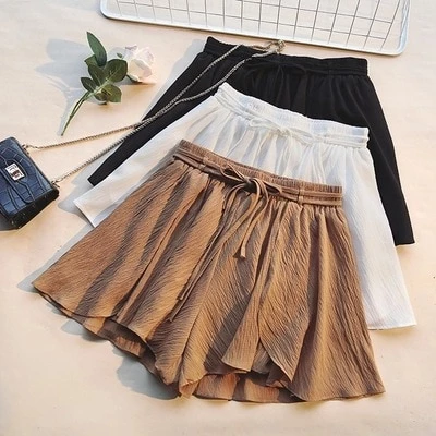 chiffon wide leg Korean style solid shorts