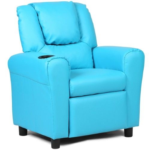 Costway Kids Recliner Armchair Children S Furniture Sofa Seat Couch Chair W Cup Holder Blue With Images Kids Recliners Sofa Furniture Reclining Armchair