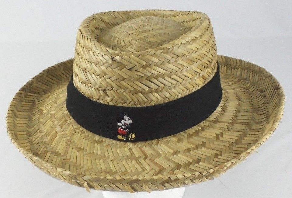 e20e35776edd Disney Parks Merchandise Mickey Mouse Straw Hat Black Band Adult Size 59cm  #DisneyParks