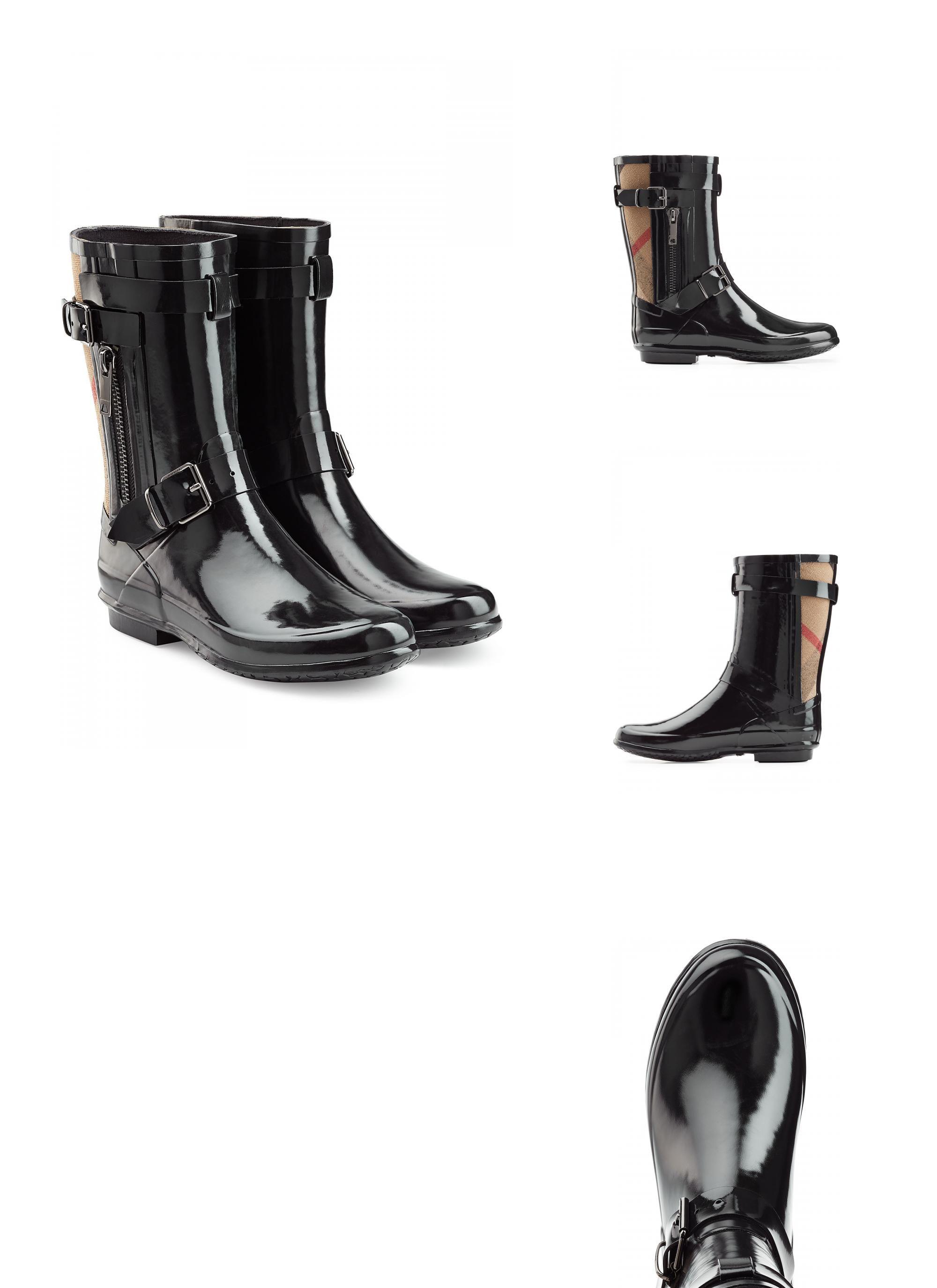 | #Burberry #Shoes  #038; #Accessories #Gummistiefel in #Lack #> #Optik mit #Check #> #Detail #> #Schwarz #für #Damen