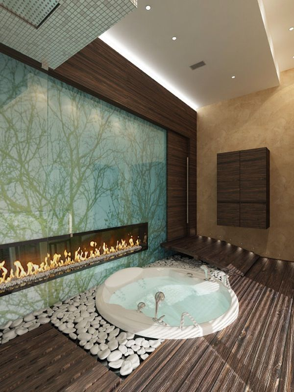 Another Asian Inspired Bathroom Design With Sunken Tub And Beautiful